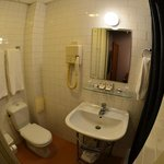 Tiny bathroom (Note: wide-angle lens used on camera!!)