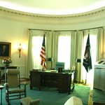 A reproduction of the oval office in LBJ's era