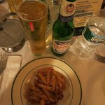 Penne with Bolognese and a Peroni at Monte's Trattoria