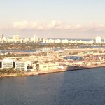 Miami Beach in Background with Royal Caribbean Offices and Cruise Terminal in foreground