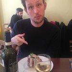 "Beef tagliata with Umbrian black truffle sauce and potatoes ""tortino"""