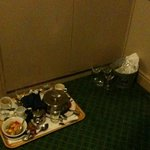 Tray left in corridor from afternoon-still there at 11pm