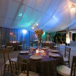 There is a huge air-conditioned tent on property that happened to be decorated for a wedding.