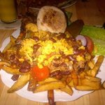 Epic burgerage with chili cheese fries!