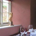 owl sculpture in restaurant