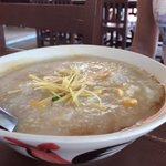 Porridge with eggs, salted eggs, and fish sauce, one of the best local breakfast delicacy...