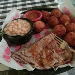 Sliced beef brisket w white beans & extra hushpuppies