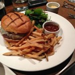 The Gather Hamburger & Fries with fresh tomato relish