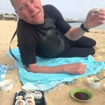 Sushi breakfast on the beach after morning surf