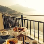 Breakfast on the patio overlooking the Mediterranean