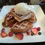 The Belgian waffle with fresh fruit.