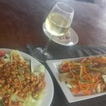grilled fish and curry chicken cashew salad