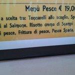 costo menù pesce