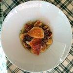 Gnocchetti croccanti con salmì d'anatra, radicchio rosso e formaggella di Tremosine al tartufo