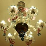 Traditional Murano glass chandalier in our room
