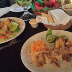 Camarones Al Tequila and Camarones Al Diablo at Carboncitos,  Playa del Carmen, Mexico