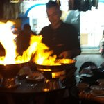 Cooking your dinner at table side. Carboncitos, Playa del Carmen, and