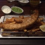 Fish and chips £12 in Scoff and Banter restaurant