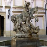 St. George slaying the dragon statue at Primates' Palace