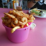 Bucket of shrimp 'n' chips (it's not full all the way down, but we found there was plenty!)