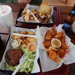Pulled pork sandwich, crab cake, coconut shrimp