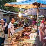 Bustling morning market