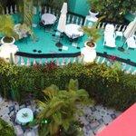 view down onto patio, Jungla Caribe