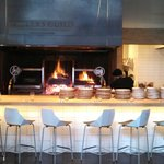 Dining counter and wood fired grill