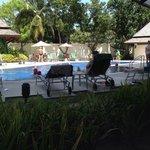 Вид из лобби. В 14.00 у бассейна свободных мест почти нет.