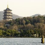 Shot from the lake of hotel grounds with Lifeng temple in background