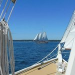 The schooner Eastwind off our bow.