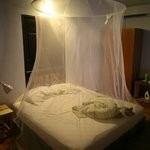 bed with its mosquito net