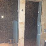 Separate toilet and shower cubicles