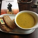 Butternut squash and spinach soup. Yum!