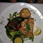 Grilled Salmon with grilled vegetables and Greek potato