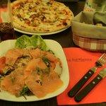 The Marina pizza and salmon salad. Delish!