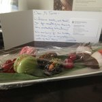 Gifts and apology card from hotel staff