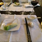 Lovely setting and amuse Vietnamese hand-roll