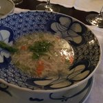Crab soup with asparagus - beautiful!