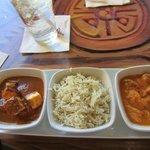 indian cheese, basmanti rice, fish