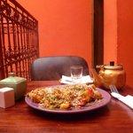 vegan lunch - vegetables/rice/lentils