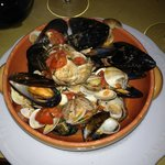 Mussels and Clams in Tomato/Wine Sauce (appetizer)