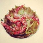 Fiore di carciofo con gamberoni rossi! Sublime!!