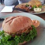 KØBENHAVN Vegan burger (front) and meaty
