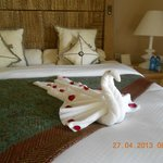 again. we had a homemade swan awaiting us on our bed