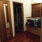 Wardrobe area and view in to bathroom