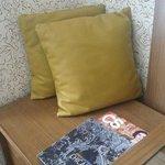 Alcove sitting area next to desk