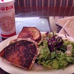 grilled cheese brie apple and fig jam w/ mixed greens