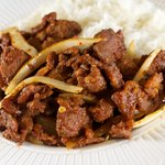 Spicy Korean Pork, served with rice.