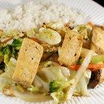Tofu Veggie Sukiyaki, served with rice.